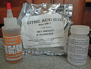 Cheesemaking ingredients needed for mozzarella making: rennet, citric acid, and lipase.