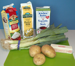 Ingredients for Leek and Potato Soup.